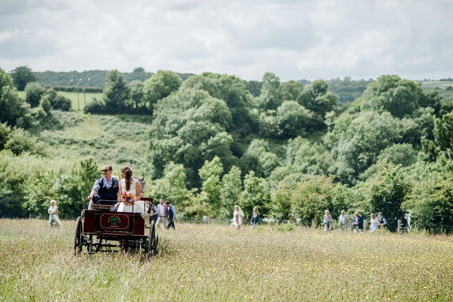 across the meadow with cart