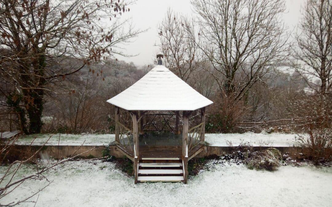 walled garden in winter
